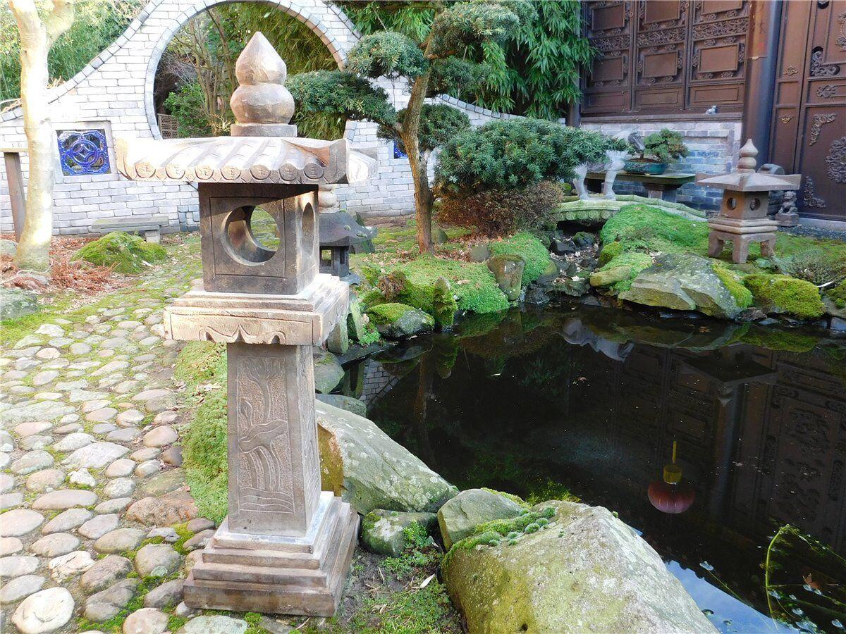 Personaggio di pietra Lanterna Pietra Giardino pagode LUCE PIETRA NATURALE s100