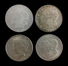 (4) 1920s Morgan & Peace Silver Dollar Coins Lot 1238