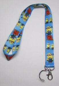 MINIONs-Despicable-Me-LANYARD-KEY-CHAIN-Ring-Keychain-ID-Holder-NEW