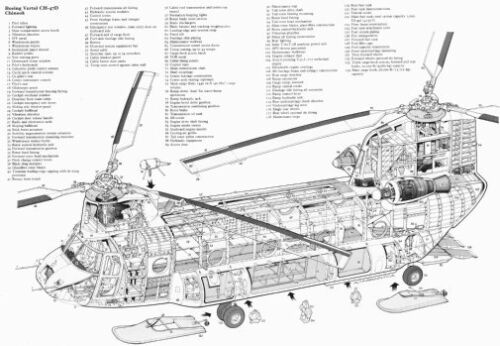 Chinook Helicopter Cutaway Poster Large  Aviation 24inx36in