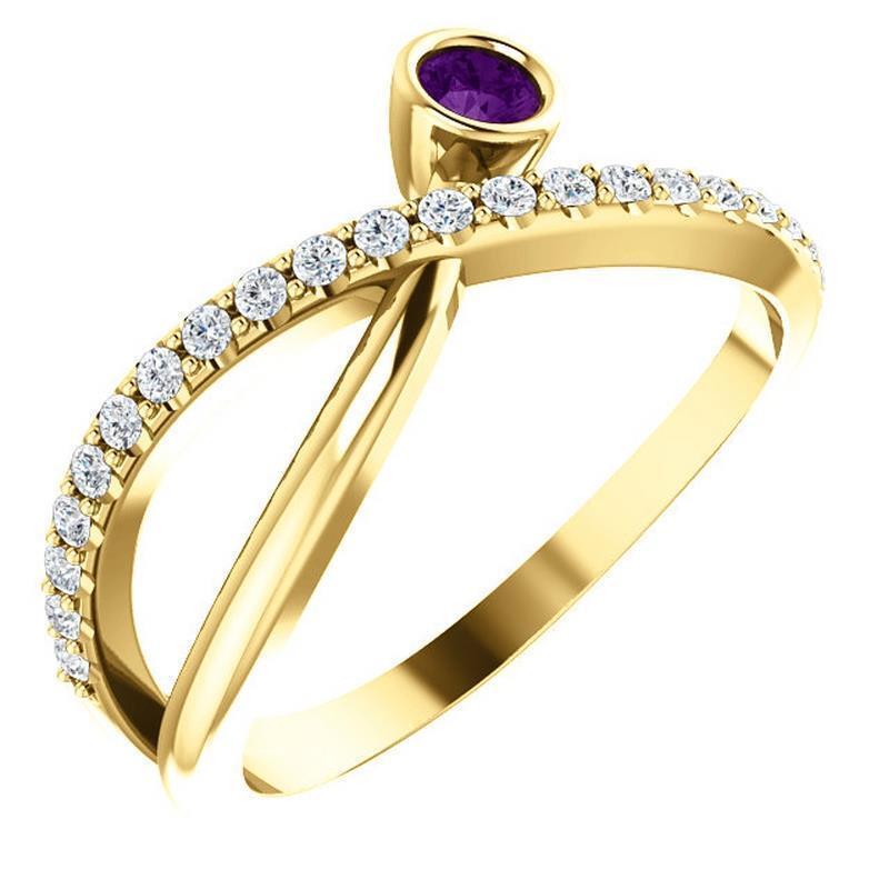 14k Yellow gold Bezel Set Amethyst Criss Cross Diamond Ring Size 7