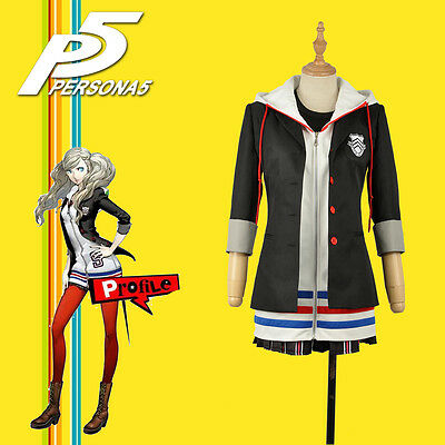 Game Persona 5 Anne Takamaki Dress Cosplay Costume Custom Hoody With Stockings