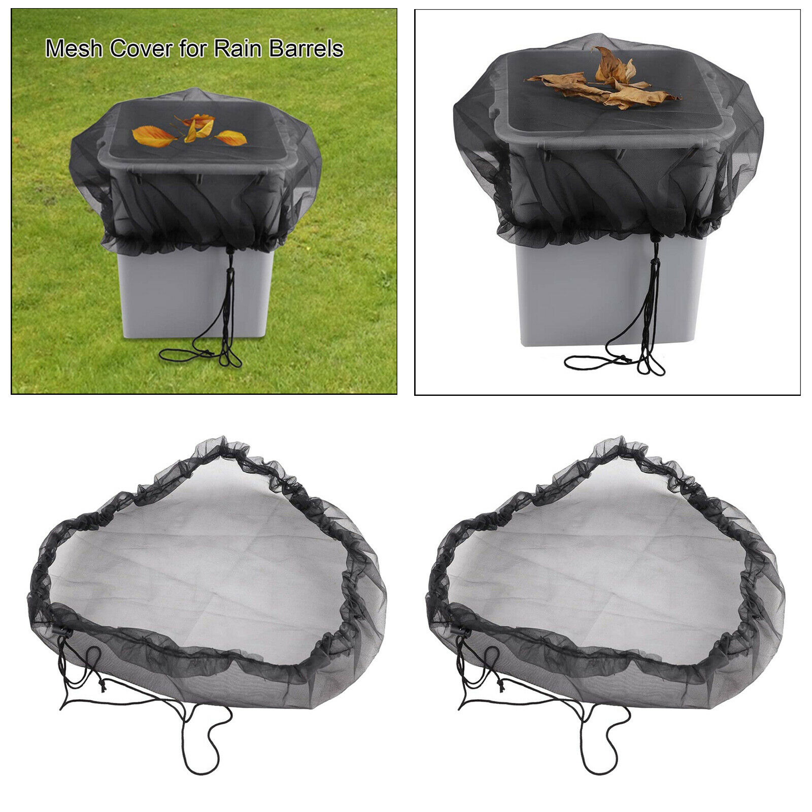 Garden Mesh Cover Buckets Cover Netting for Rain Barrels with Draw String