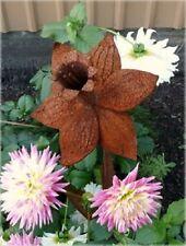 Iron Cut Metal Daffodil Flower Stake Garden Landscape Lawn Yard Outdoor Decor