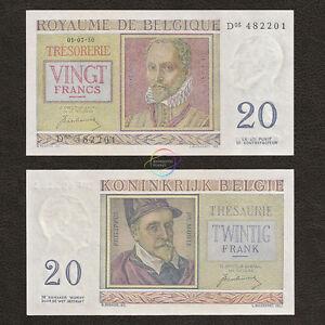 BELGIUM 20 Francs 1950 P-132a UNC Uncirculated