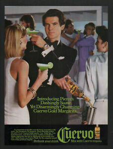1986 CUERVO Gold Tequila Margarita - PIERCE BROSNAN - VINTAGE ADVERTISEMENT