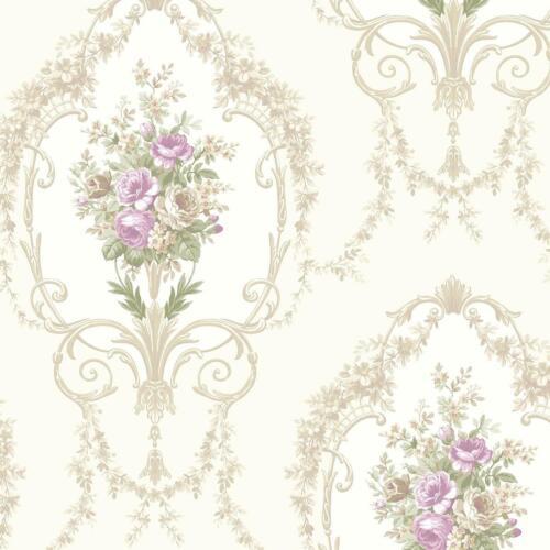 Floral Vintage Traditionnel Papier Peint Beige Naturel Lilas Roses Fleurs Motif