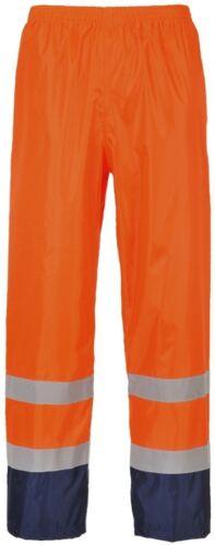 Portwest H444 Arancione//Blu Marino Hi-Vis CLASSICI PANTALONI IMPERMEABILE Taglia Small 3XL