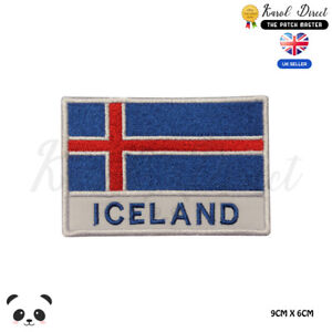 ICELAND-National-Flag-With-Name-Embroidered-Iron-On-Sew-On-Patch-Badge