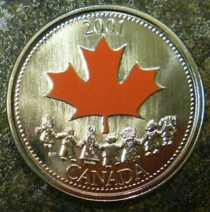 2001P-COLOURED-25-CENTS-SPIRIT-OF-CANADA-LOW-MINTAGE
