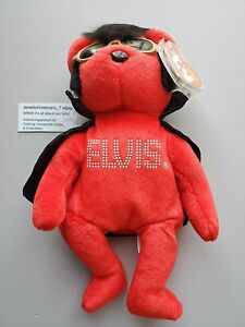 TY Beanie Babies 2009 Red Elvis Bear Shake, Rattle and Beanie #47129💖