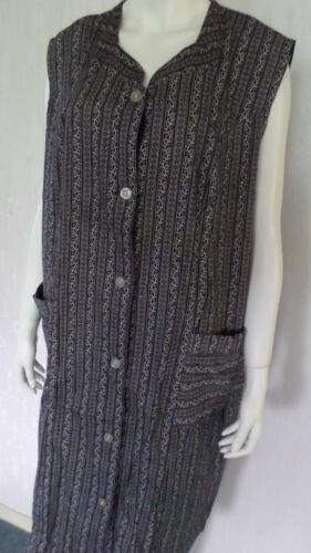 Damen Schürze Kleiderschürze Kittelschürze Baumwolle Schwarz//Creme Gr.56 NEU