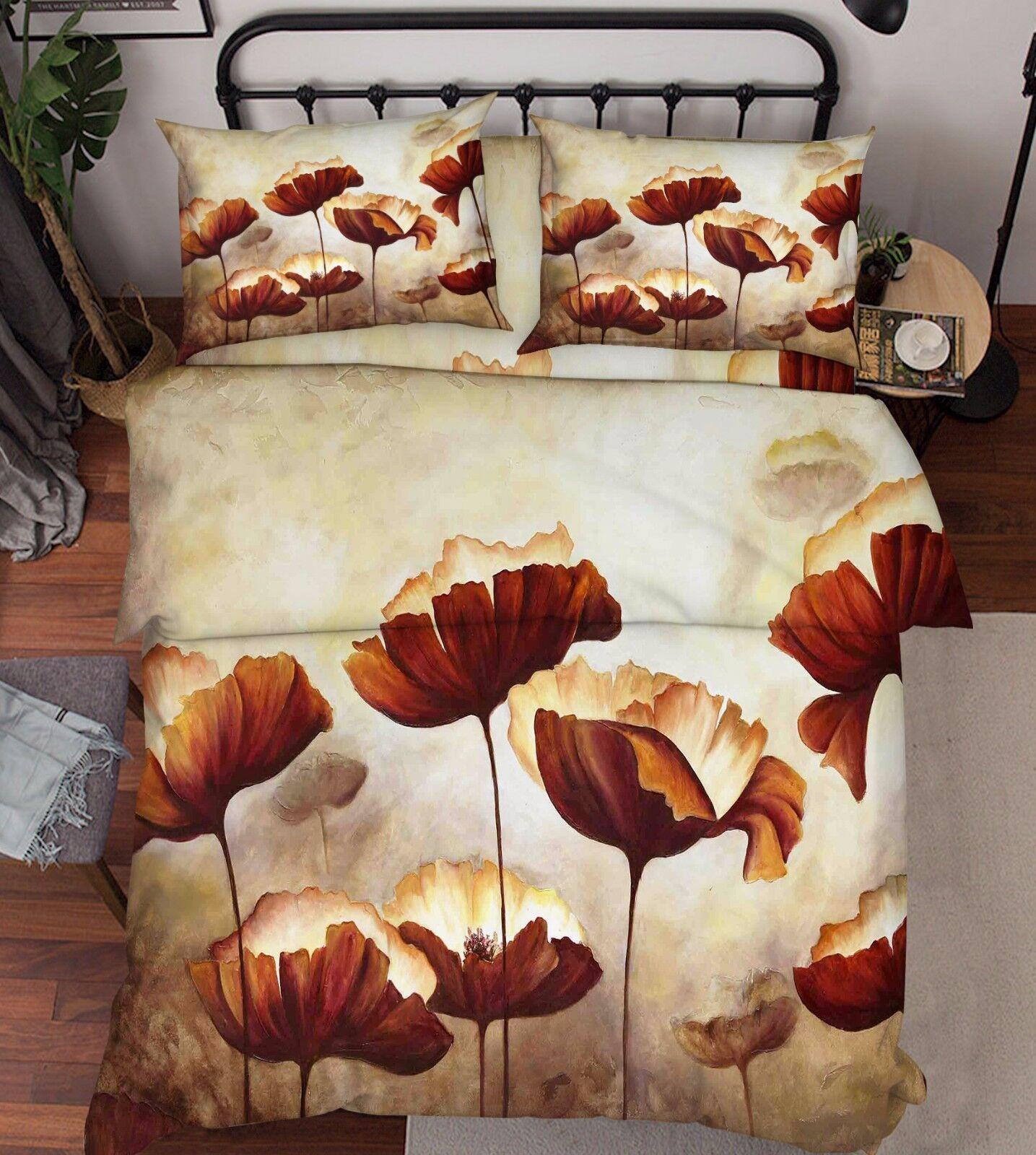 3D Blaumen Malerei 3 Bett Kissenbezüge steppen Duvet Decken Set Single Königin DE