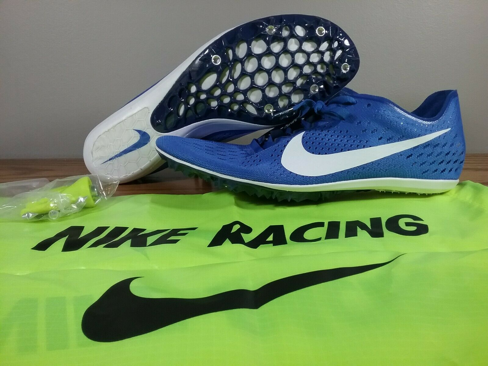 Nike Zoom Victory 3 Racing Distance bluee White 835997-411 Men Sz 10 W Spikes-Bag