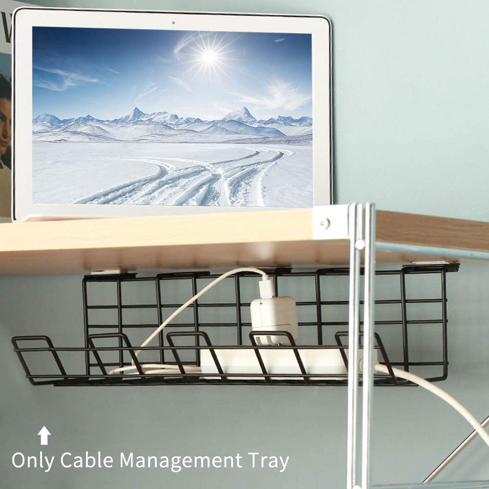 DASNTERED Cable Management Tray, 2pcs/pack Under Desk Wire Organizer With Screws