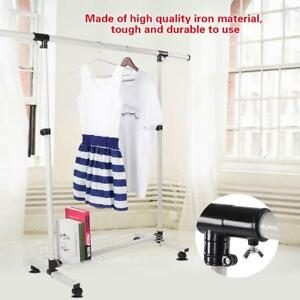 Adjustable-Rolling-Single-Rail-Garment-Rack-Heavy-Duty-Clothes-Hanger-Rack-Home