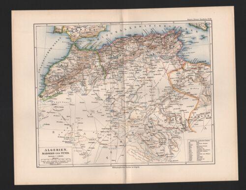 Landkarte map 1892: ALGERIEN, MAROKKO UND TUNIS. Afrika Africa