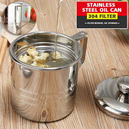 1.2L Oil Strainer Container Pot Jug Storage Can With Cooking Filter Oil Pot Lid