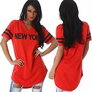 maglia-felpa-lunga-donna-rossa-new-york-hip-pop-street-manica-corta-tg-40-42-44