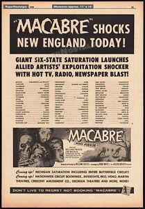 William-Castle-MACABRE-Original-1958-Trade-news-AD-promo-poster-JIM-BACKUS