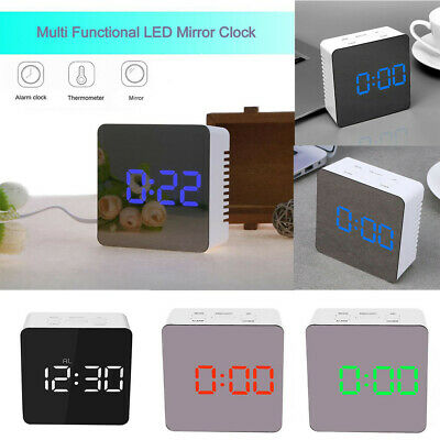New Bedside Home Clock Alarm Mirror LED Digital Night Light Thermometer Display