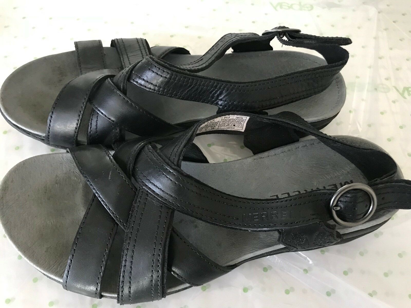 MERRELL low black performance slingback sandals low MERRELL wedge buckle leather 7 5534f3