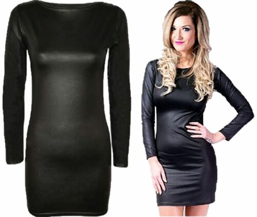 Women Long Sleeve Wet Look PVC Tunic Top Ladies Shinny Fancy BodyCon Mini Dress
