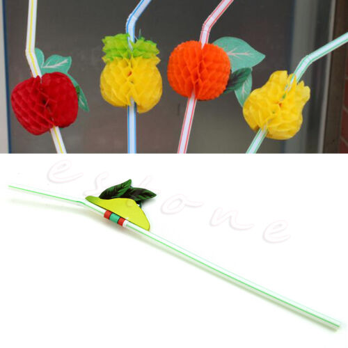 3D Fruit Umbrella Cocktail Drinking Straw 50 Pcs Party BBQ Hawaiian Theme Decor