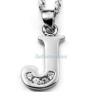 Sparkling-Silver-Plated-Chain-w-Alphabet-Letter-034-J-034-Pendant-Unisex-Necklace-New