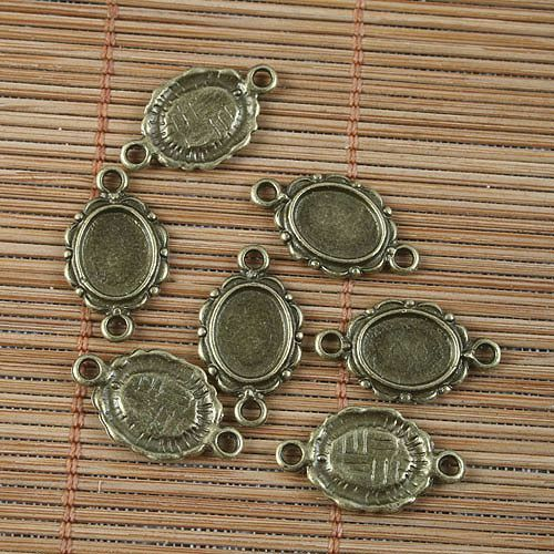 20pcs antiqued bronze oval cabochon settings G1648