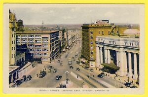 cpsm-CANADA-OTTAWA-Rideau-Street-Looking-East-Rue-Centrale-et-GARE-UNION-STATION