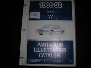 1988 1989 1990 1991 1992 BUICK REGAL PARTS AND ILLUSTRATION CATALOG