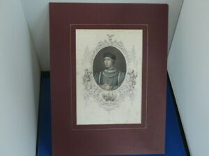 ANTIQUE  ~ HENRY VI ~HAND COLOURED ENGRAVING - MOUNTED.