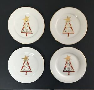 PIER-1-Christmas-Tree-Plates-SET-OF-4-Red-Green-Gold-7-5-034-Dessert-Salad-NEW
