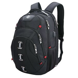 Swiss Digital Pixel Men's Black USB-Charging Laptop Travel Backpack SD-857