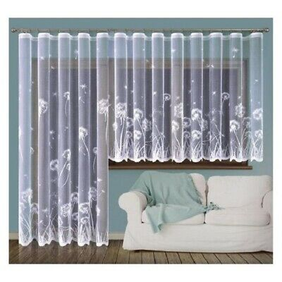 Ernstig Modern White Net Curtain Two Drops Sold By Meters Dandelion Design