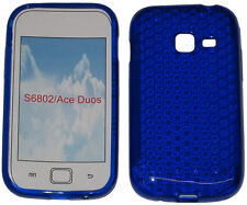 For Samsung Galaxy Ace Duos GT S6802 Pattern Soft Gel Case Protector Cover Blue