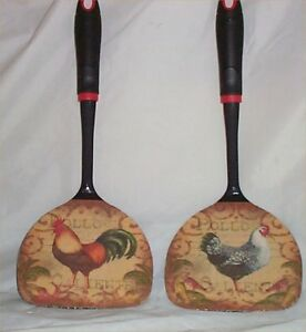Image Is Loading Rooster Large Black Wall Utensils Decor Kitchen Decoration