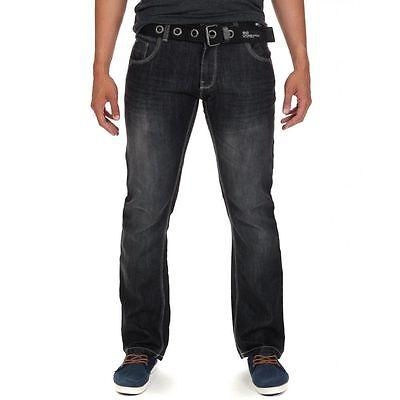 Crosshatch Fashion Jeans Men's New Straight Fit Vintage Faded Denim Pants