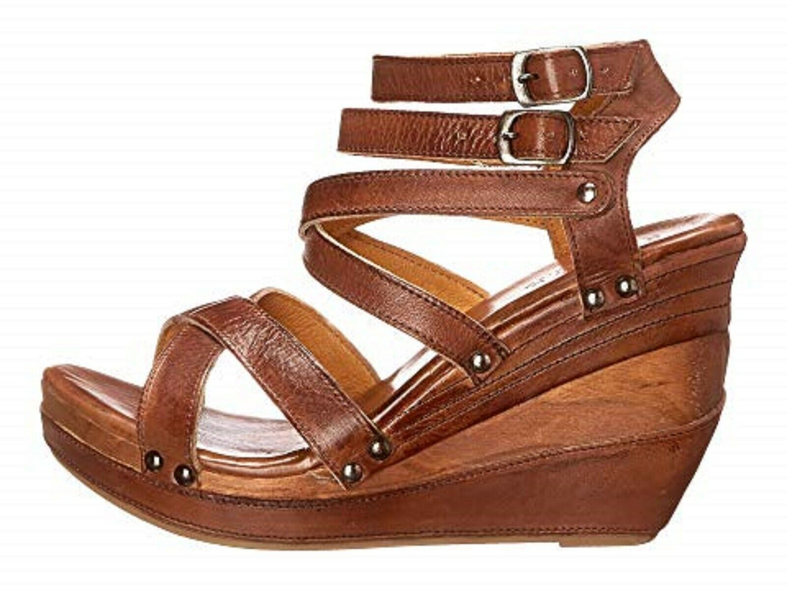 1Bed Stu Juliana Wedge Platform Sandals Women's Size 9.5 Tan Rustic BEDSTU BROWN