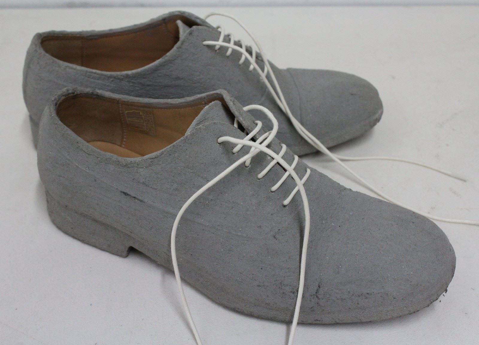 MAISON MARTIN MARGIELA Ladies Grey Cement Coated Leather Brogues EU35.5 UK3