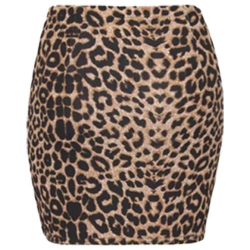 New Womens Print Ladies Stretch Elasticated Jersey Bodycon Short Mini Skirt 8-14