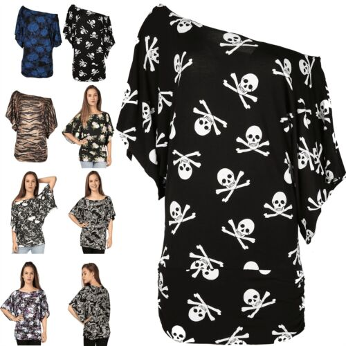 Women Ladies Floral Printed Off The Shoulder Batwing Baggy Side Ruched Top 8-26