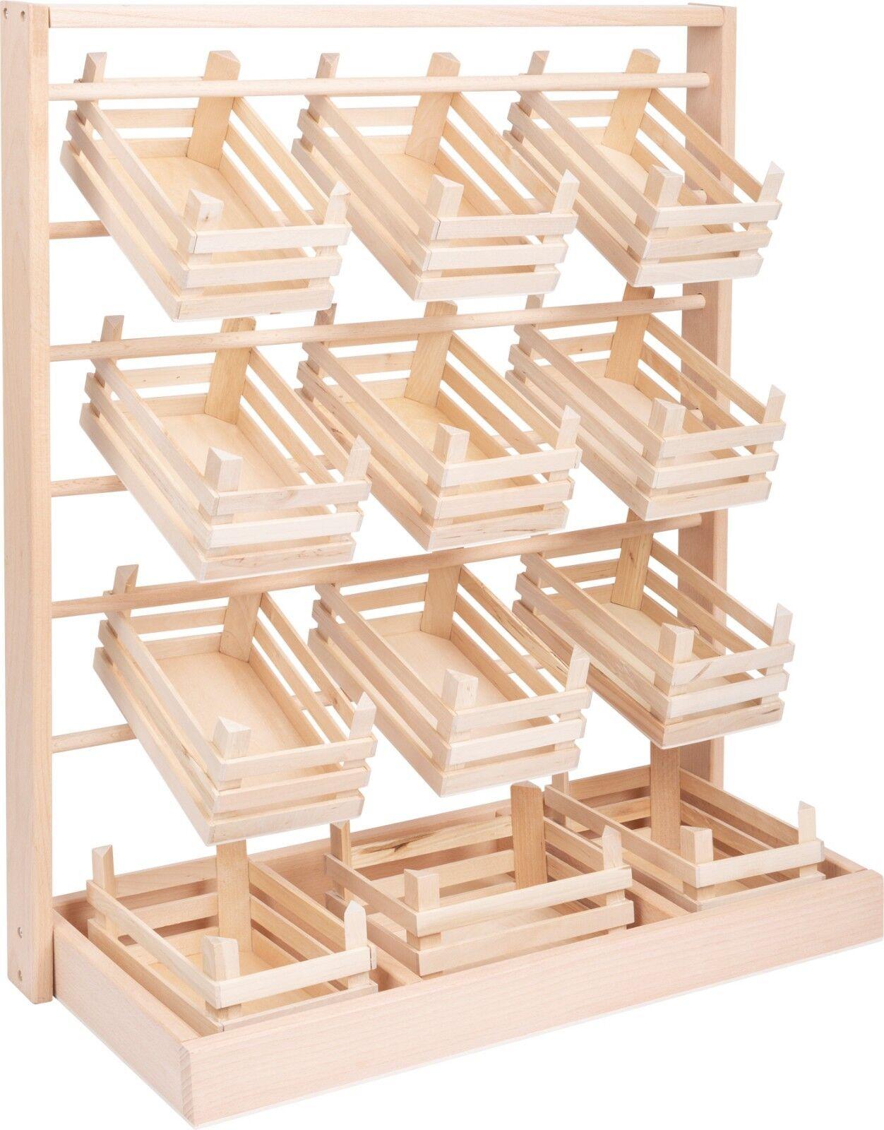 Verkaufsstand mit 12 großen Kisten (leer) Holz ca. 60 x 24 x 67 cm