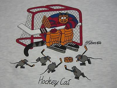 Kliban Cat Hockey Sweatshirt Crazy Shirt Hawaii Vtg