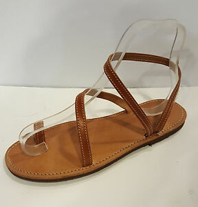 Handmade Leather Sandals Greek Production Brown Simple New Design