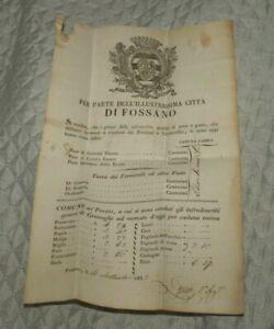 1833 PREFILATELICA LETTERA DA FOSSANO A CHERASCO DOCUMENTO ANTICO TASSAZIONE