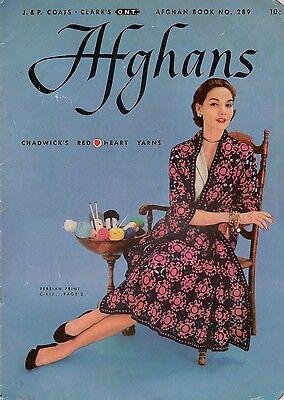 Knitting Crochet Patterns Afghans Ripple Motif Americana Plaid Baby 1952 VTNS