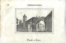 Stampa antica PONTE A SIEVE Pontassieve Pelago Firenze 1841 Old antique print