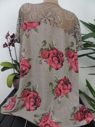 Tunika Blusen T Shirt 123B Damen Bluse Größe 46 48 50 52 54 Übergröße Blumen Mu